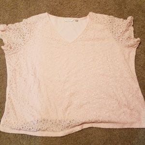 Baby pink lace front top